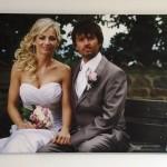 fotoobraz ženicha a nevěsty na plátně
