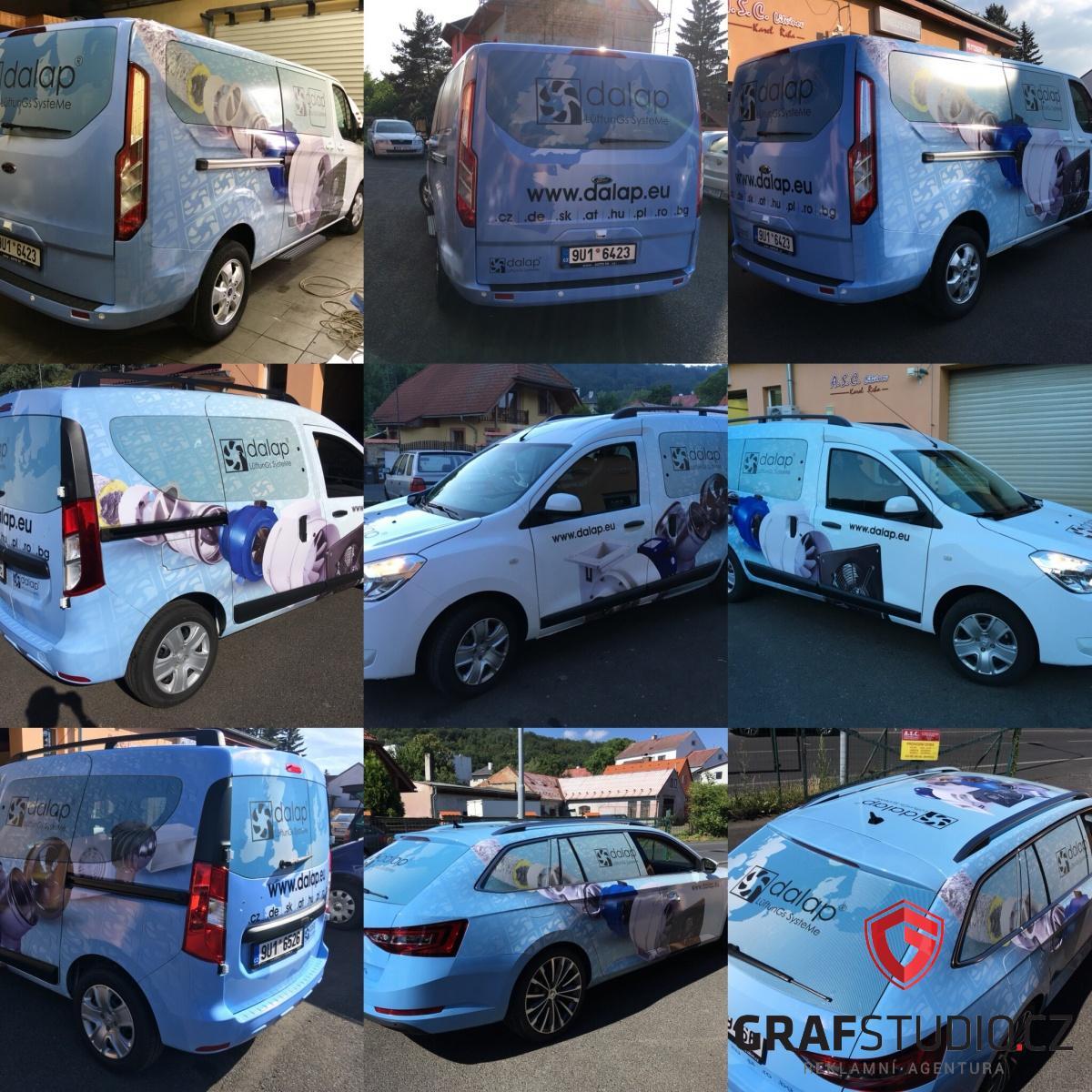 reklamní polepy aut společnosti Dalap